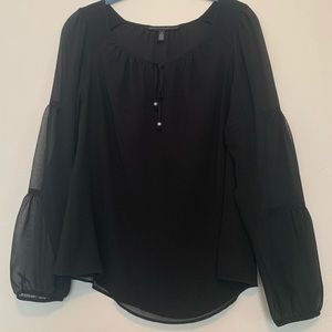Sheer long sleeve black blouse lined